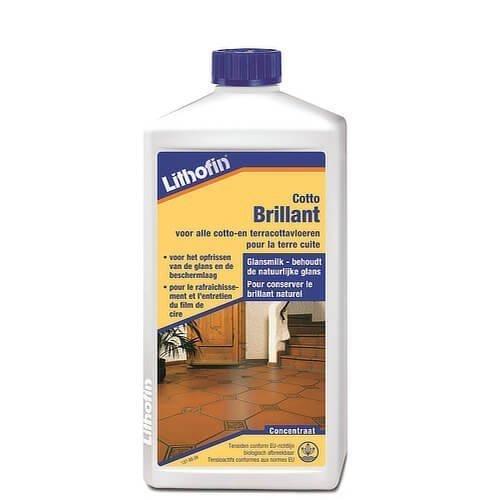 Lithofin Cotto-Brilliant (glansmilk) is bedoeld voor het periodiek opfrissen van de glans van met was behandelde cotto-, terracotta- klei-vloeren