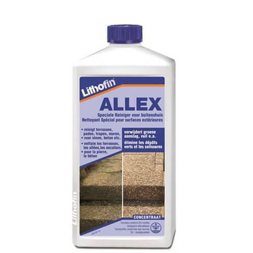 Lithofin Allex verwijdert groene aanslag van terrassen, gevels, daken en looppaden. Bevat geen geen chloor of zuur.