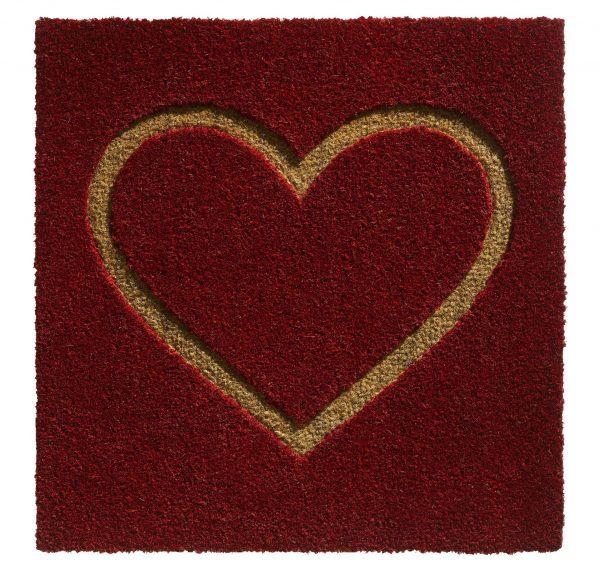 Vierkante deurmat rood met naturel hart-0