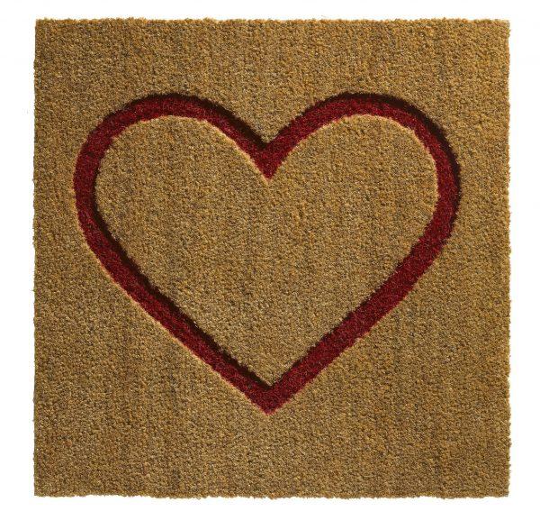 Vierkante deurmat naturel met rood hart-0